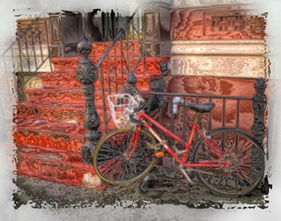 Red Bike and Stoop Stylized